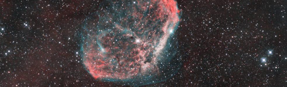 """Nebulosa Crescent (NGC 6888), primera imagen obtenida totalmente en """"Remoto"""" desde el Observatorio Behatokizki"""